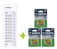 OXE Nabíjačka batérií AA na 12 ks a 12 ks nabíjacích batérií Varta 56706 R6 2100mAh NIMH basic
